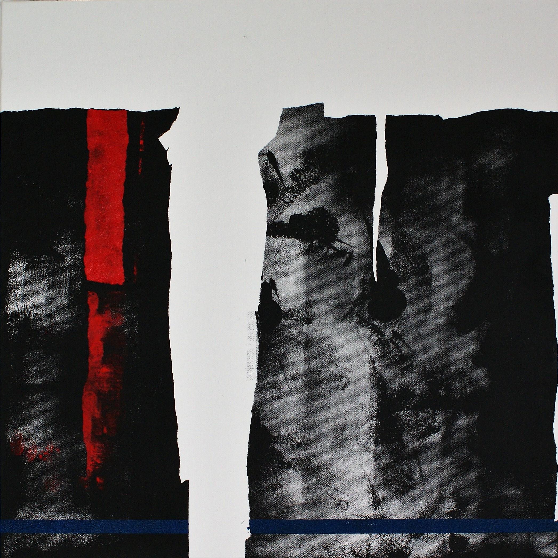 The thin blue line (acrylic & oil on canvas, 50x50cm) 2018 DBrewins-Cook