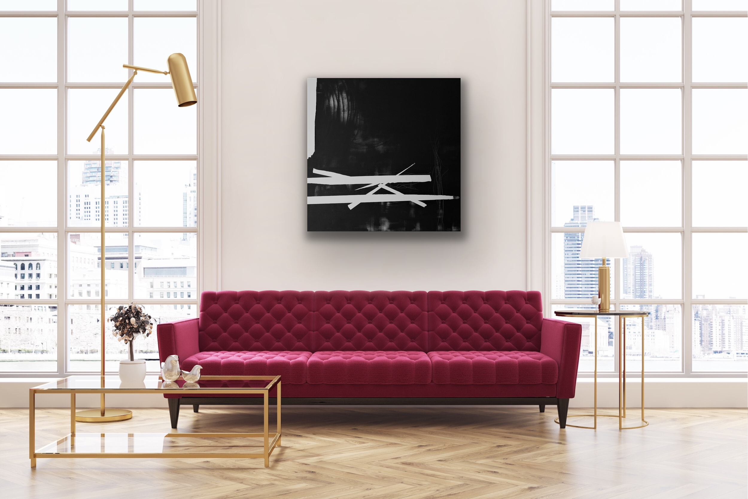 'Unsung lullaby' with pink settee