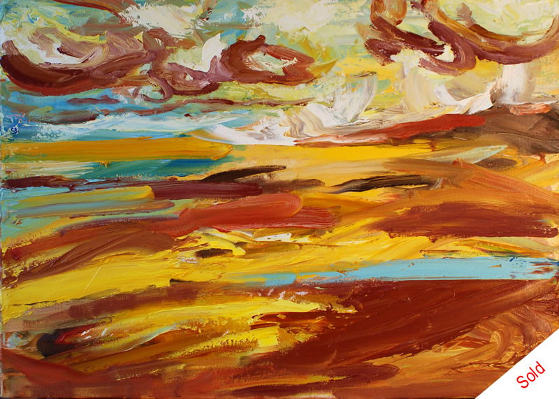 SOLD - Remembering Bamburgh (oil on canvas 50cm x 70cm) by Donna Brewins-Cook Jan 2015