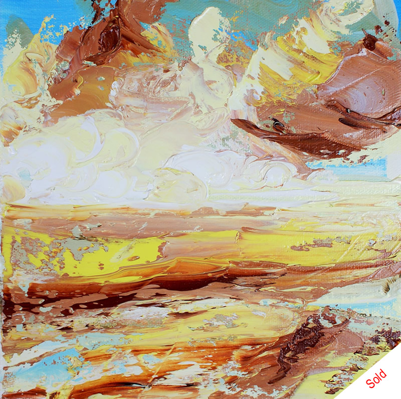 Autumn skies over the beach (oil on canvas 20x20xm) Nov 2015 Donna Brewins-Cook