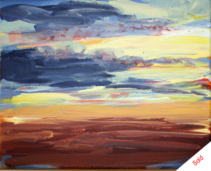SOLD - Sunset over the moors acrylic on canvas 30x20cm Donna Brewins-Cook