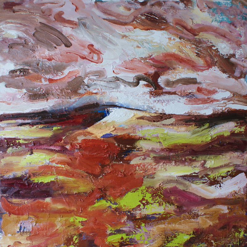 Snow and sleet Ringinglow (oil on canvas 95cmx95cm) Donna Brewins-Cook 2014