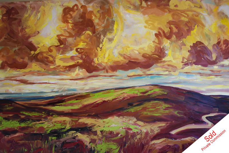Big Skies yellow light over the moors by Donna Brewins-Cook - private commission