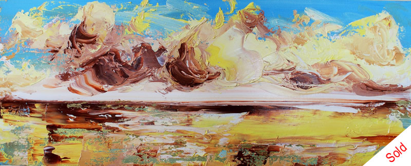 Autumn cloud, rolling tide (oil on canvas 50x20cm), November 2015 Donna Brewins-Cook