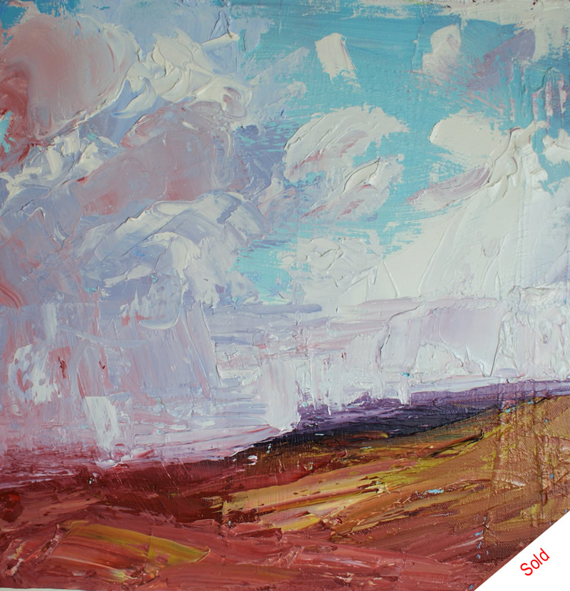 Clouds over Stanage Edge oil on canvas 40cmX40cm Donna Brewins-Cook