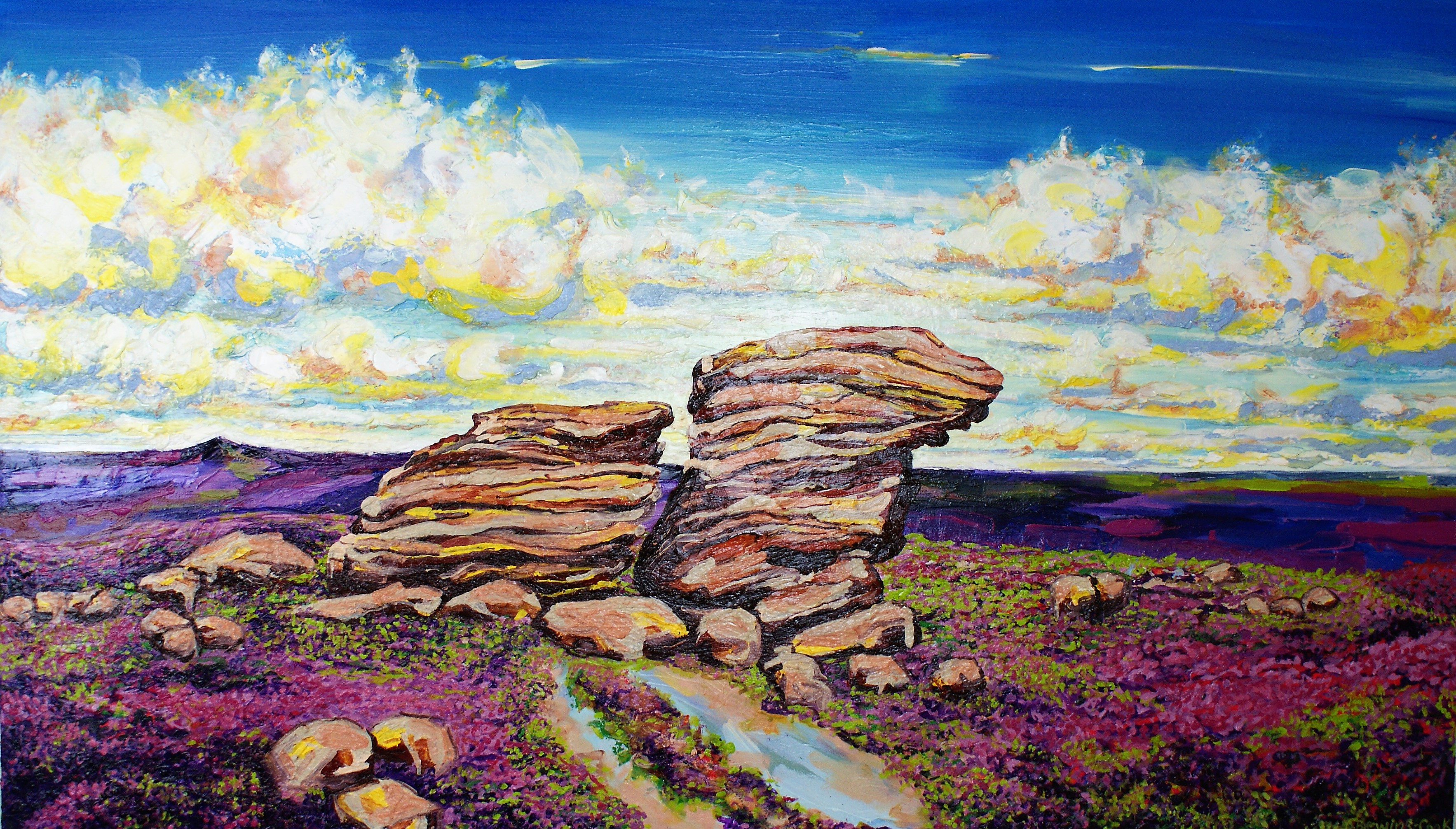 High Summer – Ox Stones in the morning light, clouds dance with the purple heather - 170x100cm (oil on canvas) 2021, Private Commission & Collection