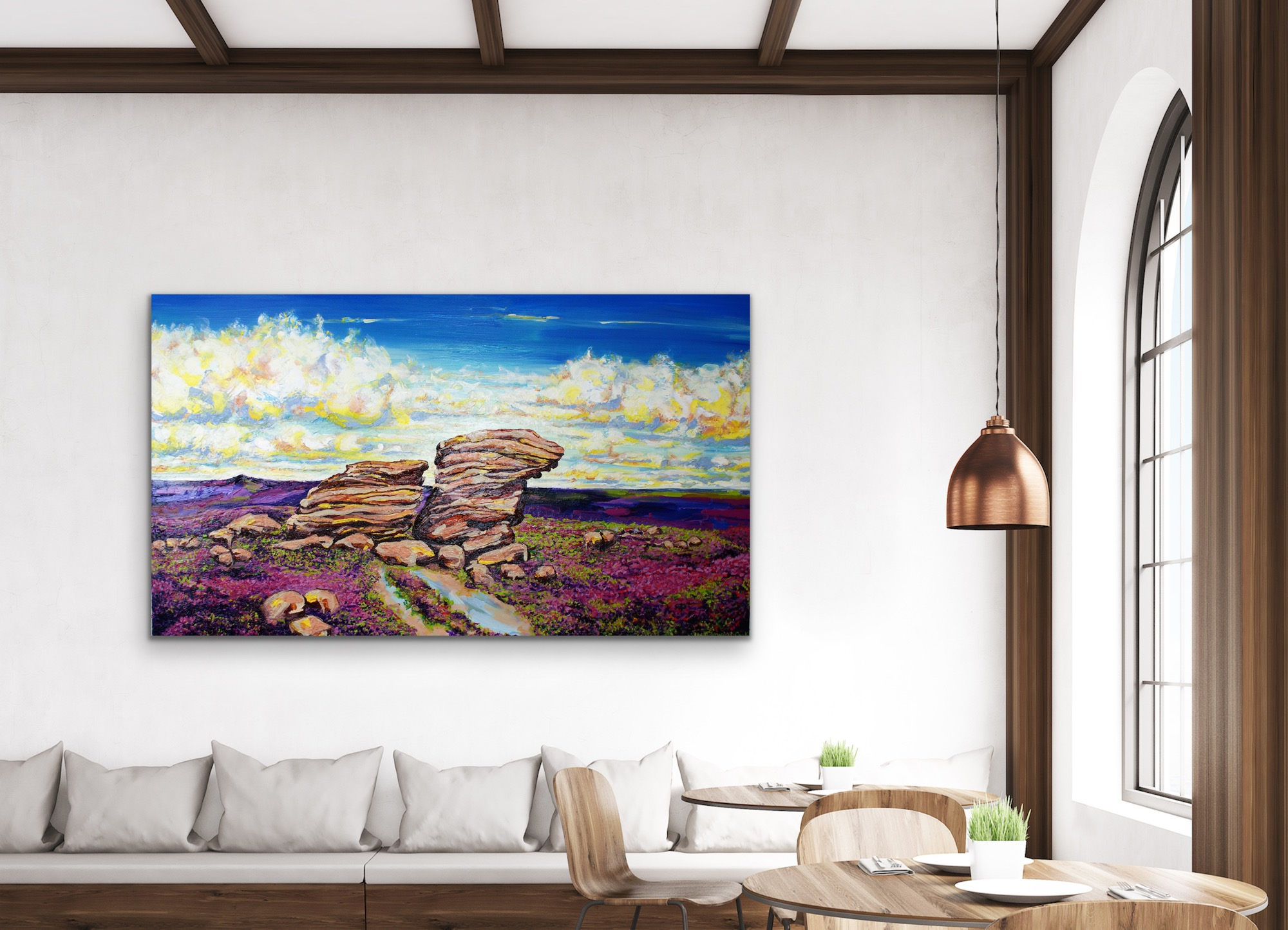 High Summer – Ox Stones in the morning light, clouds dance with the purple heather, in a room