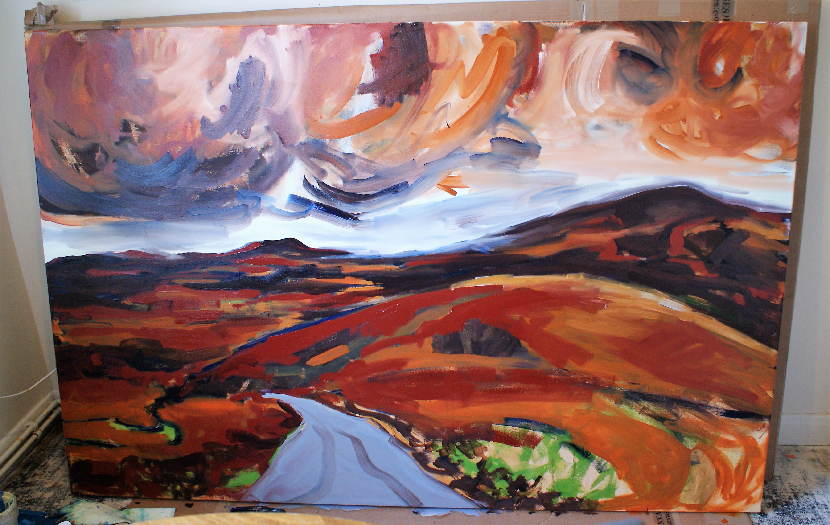 1st lot of oil on the large canvas (180cmx122cm) (2)