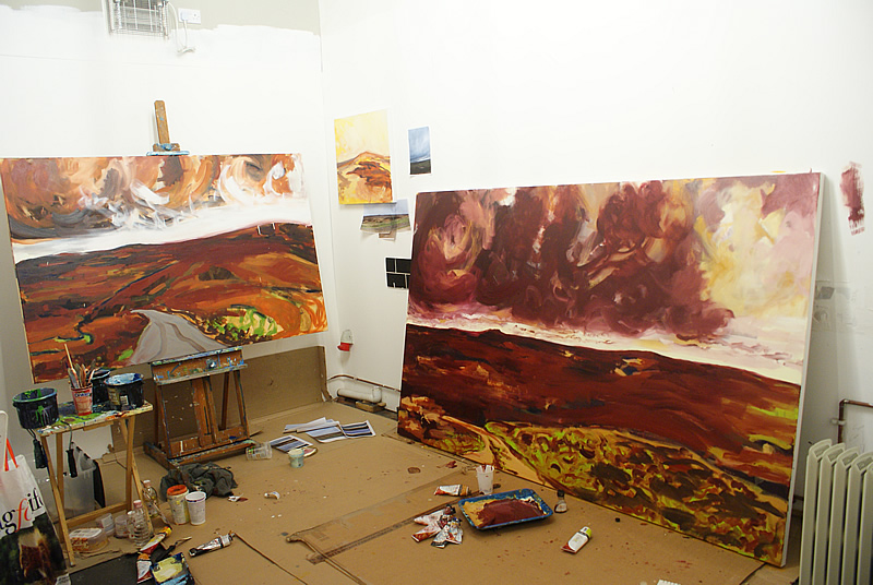 Studio prelim sketch and The Call Within  final piece (right) Donna Brewins-Cook 2013