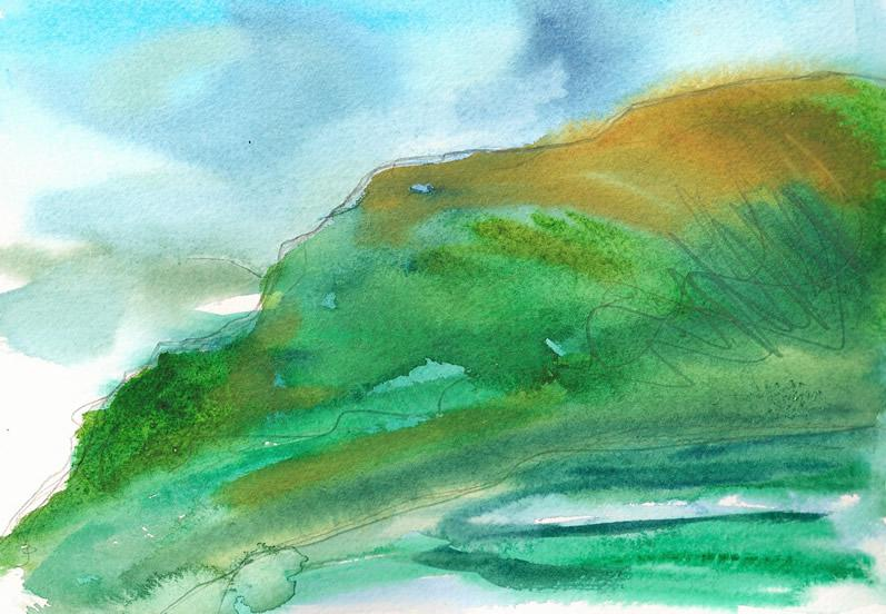 Lakeland Fell left -watercolour Donna Brewins-Cook 2014