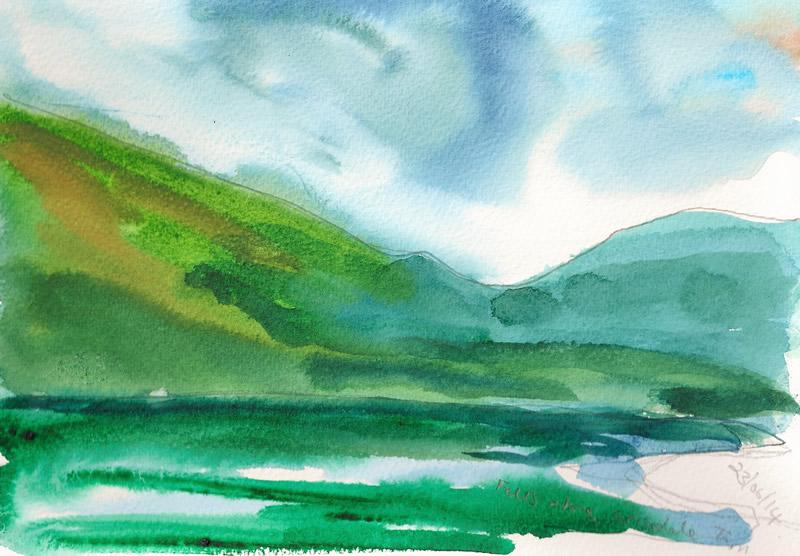 Lakeland Fell - watercolour Donna Brewins-Cook 2014
