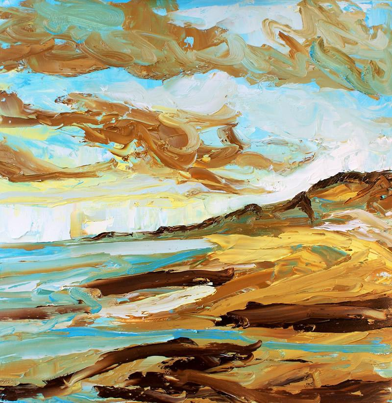 Sandsend study in oils April 2014 Donna Brewins-Cook