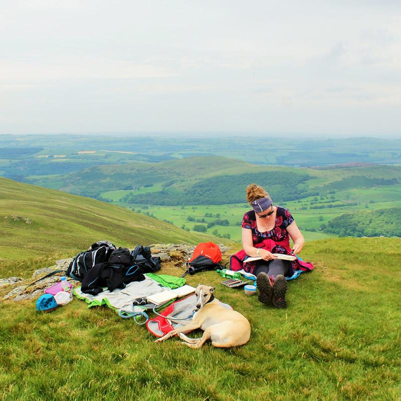Sketching on Lords Seat, Cumbria, Donna Brewins-Cook 2015